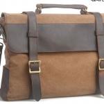 กระเป๋าสะพายข้าง ผู้ชาย หนังแท้ ผ้ายีนส์ แบบสวย ไฮโซ กระเป๋าใบใหญ่ ใส่ notebook ได้ สีน้ำตาลกาแฟ ราคาพิเศษ no 97646_3