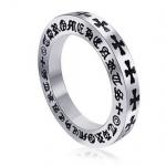 แหวนผู้ชาย แหวน 316L Stainless Steel แกะลาย ไม้กางเขน รอบวง แหวนสีเงิน แบบเท่ ดีไซน์ เก๋ แนว ร็อค 11196