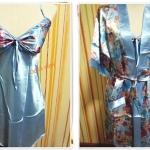 ชุดนอน เซ็กซี่ ผ้าลื่น ผ้าซาติน พร้อมเสื้อคลุม สีฟ้า ดอกไม้ใหญ่ b009