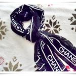 ผ้าพันคอ chanel สีดำ 62*20 นิ้ว