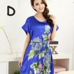 ชุดนอนผู้หญิง แบบชุดคลุม ยาวเหนือเข่า ชุดนอน ผ้าไหม ซาติน นุ่มลื่น ใส่สบาย กันไรฝุ่น ลายดอกไม้ สีพื้น สีน้ำเงิน 53522_3