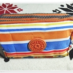 กระเป๋าใส่เครื่องสำอางค์ ลายทาง สีส้ม KP907