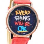 นาฬิกาข้อมือ สไตล์ วัยรุ่น ผู้หญิง ผู้ชาย ใส่ได้ หน้าปัดข้อความให้กำลังใจ everything will be ok ของขวัญยอดนิยม สีแดง no 526000_6