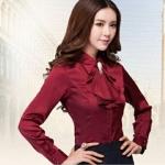 เสื้อเชิ้ตใส่ทำงาน เสื้อเชิ้ตผู้หญิง แขนยาว สีแดงเลือดหมู มีระบาย ตรงหน้าอก เพิ่มมิติ ให้ดูโดดเด่น เสื้อใส่ทำงาน แขนยาว สำหรับ สาวออฟฟิต 500772