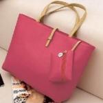 กระเป๋าถือสำหรับผู้หญิง ใบใหญ่ วัสดุ PU ทนทานกันน้ำได้ สีชมพู