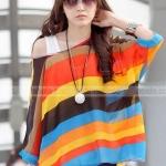 เสื้อคลุม ผ้าชีฟอง คอกว้าง เสื้อใส่เที่ยวทะเล ใส่เที่ยว สีแสบ แฟชั่น สุดเก๋ ลายขวาง สีส้ม เหลือง น้ำตาลฟ้า สลับแถว no 85154_5