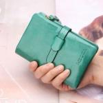 กระเป๋าสตางค์ผู้หญิง ใบสั้น กระเป๋าสตางค์ หนังวัวแท้ ลง Oil wax ใช้ยิ่งนาน ยิ่งสวย มีช่องใส่บัตร มีช่องใส่เหรียญ สีเขียวอมฟ้า น้ำทะเล 764078_3