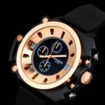 นาฬิกาข้อมือ สายซิลิโคนแท้ สีดำ ดีไซน์ แบบเท่ๆ สไตล์ คาวบอย หนุ่มมาดเท่ หน้าปัดใหญ่ 3 สี เงิน ทอง นาก แบบสวย 3 มิติ 961085