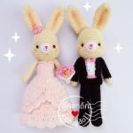 """ตุ๊กตาถัก กระต่ายแต่งงาน 11"""""""