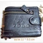กระเป๋าสตางค์ หนังแท้ สีดำ Polo P004