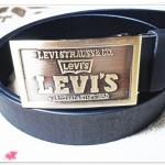 เข็มขัดผู้ชายหนังแท้ Levis ตัวใหญ่ สี่เหลี่ยม หนังดำด้าน Le357003