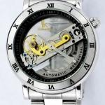 นาฬิกาข้อมือโชว์กลไก นาฬิกาข้อมือผู้ชาย สาย Stainless steel กันน้ำได้ 100% หน้าปัดทอง และ หน้าปัดเงิน no 832325
