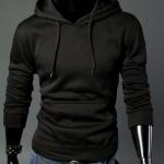เสื้อ แจ็คเก็ต ผู้ชายแขนยาว แบบสวม และ มีฮู้ด ด้านหลัง เสื้อแขนยาวมีอู้ด เสื้อกันหนาวสำหรับผู้ชาย สีดำ no 683268
