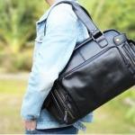 กระเป๋าใส่เสื้อผ้าไปยิม กระเป๋าใส่เสื้อผ้า เดินทาง ใบใหญ่ หนัง Pu กันน้ำ กระเป๋าเดินทาง แบบถือ มี 2 สี สีน้ำตาล และ สีดำ 324904