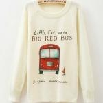 เสื้อกันหนาว เสื้อคลุม แขนยาว เสื้อไหมพรมถัก นิตติ้ง แบบสวม ตัวยาว เสื้อกันหนาว วัยรุ่น แบบน่ารัก ลาย Big bus สีแดง เก๋ ๆ สไตล์ วินเทจ 209010