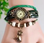 นาฬิกาข้อมือ ผู้หญิง สายหนังถัก สไตล์สร้อยข้อมือ วินเทจ สีเขียว ห้อย นกฮูก
