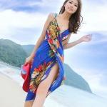 เสื้อคลุมชุดว่ายน้ำ ใส่เล่นเดินชายหาด ชายทะเล เดรส ใส่คลุมชุดบิกินี่ ใส่เดินชายหาด สีน้ำเงิน ลายดอกไม้ สวยเก๋ มีสไตล์ 90104