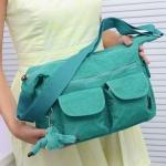 กระเป๋าสะพายข้าง ผู้หญิง ผ้าไนลอน กันน้ำ ทรงสี่เหลี่ยม ขนาดกำลังดี ไม่เทอะทะ ใส่ของได้เยอะ แนว Sport สีเขียวอมฟ้า น้ำทะเล 390952_7