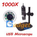 In Stock กล้องจุลทรรศน์ USB Microscope กำลังขยาย 1000X ฐานพลาสติก มีไฟส่องในตัว (พร้อมส่ง 1 ชุด)