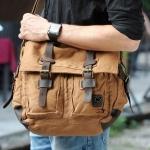 กระเป๋าสะพายข้าง ผู้ชาย ผ้า canvas กระเป๋าสะพายแนวเซอร์ ๆ สไตล์ วินเทจ กระเป๋าใส่โน้ตบุ๊ค ได้ สี น้ำตาล no 3366_1