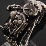 นาฬิกาข้อมือ สายหนังแท้ สไตล์ ร็อคแอนด์โรล สิงห์นักบิด รูปมอเตอร์ไซค์ Harley สายหนังสีดำ no 626377