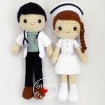 ตุ๊กตาถัก คู่หมอพยาบาล 12 นิ้ว