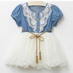 ชุดกระโปรงเด็กผู้หญิง แบบยีนส์ ประดับลูกไม้ กระโปรงบาน สีขาว น่ารักมากค่ะ no 37343