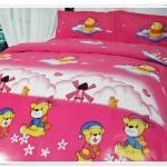 5 ฟุต 3 ชิ้น ชุดเครื่องนอน ผ้าปูที่นอน สีชมพูลายหมี b003
