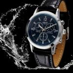 นาฬิกาข้อมือ ผู้ชาย สายหนังแท้ สายสีดำ ลายหนังจรเข้ หน้าปัด สีฟ้า Blue สีหายาก ของขวัญให้แฟน สุดหรู นาฬิกาสายหนัง หน้าปัดกลม 181477_1