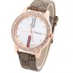 นาฬิกาข้อมือผู้หญิง สายหนัง pu หน้าปัดฝัง คริสตัล เพชร รอบเรือน ตัวเลขโรมัน สวยหรู คลาสสิค สีน้ำตาล สาวทำงาน มาดเท่ 95728_1