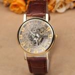 นาฬิกาโชว์กลไก นาฬิกาข้อมือเปลือย นาฬิกาข้อมือผู้ชาย ผู้หญิง ใส่ได้ แบบใส่ถ่านด้านใน ดีไซน์ โชว์ให้เห็น กลไล นาฬิกา สายหนัง แบบหรูหรา คลาสสิค 705000