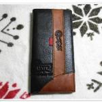 กระเป๋าสตางค์ levis สีน้ำตาลแถบน้ำตาลใบยาว L004