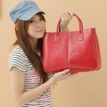 กระเป๋าถือ ผู้หญิง กระเป๋าถือ หนัง Pu ขนาดกระทัดรัด สีพื้น สีแดง ฟ้า น้ำตาล ส้ม ชมพูอ่อน ทนทานสุด ๆ No 39848_5