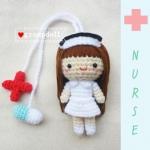 """ตุ๊กตาถัก พยาบาล 4""""+ สายคล้องยา"""