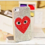 ID: A054 Case iPhone 4S, Case iPhone 4 Crystal Swarovski  Bigger Heart