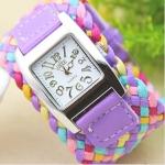 นาฬิกาข้อมือสายหนังถัก นาฬิกาข้อมือผู้หญิง สไตล์วินเทจ สีม่วงอ่อน ผสมผสาน กับ สีฟ้า และ ชมพู สวย หวาน ของขวัญให้แฟน สุดเก๋ no 201419_7
