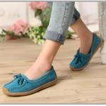 รองเท้าผู้หญิง หุ้มส้น ส้นแบน รองเท้าหนังแท้ ผู้หญิง รองเท้าคัทชู ใส่สบาย ดีไซน์ หนังแท้ มีเชือกผูก ใส่ทำงาน ใส่เที่ยว สีฟ้า 40782_1
