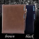 กระเป๋าสตางค์ผู้ชาย หนังแท้ ใบสั้น ดีไซน์ ผู้บริหาร มีช่องใส่ Card สามารถถอดเข้าออกได้ เรียบหรู สีดำ และ สีน้ำตาล no 65087