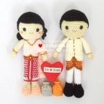 """ตุ๊กตาถัก คนแต่งงาน ชุดไทย 12"""""""
