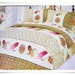 ชุดผ้าปูเตียง ผ้าปูที่นอน Cotton 6 ฟุต 3 ชิ้น ลายขนนก B028