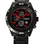 นาฬิกาข้อมือ ผู้ชาย ผู้หญิง แบบ Analog แนว Sport นาฬิกา สาย Stainless สีดำ หน้าปัดสะท้อนแสง สีฟ้า สีแดง และ สีขาว 40603