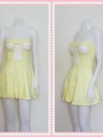 dress2262 เดรสแฟชั่นเกาะอกเสริมฟองน้ำ ผ้าสกินนี่(ยืดได้เยอะ) สีเหลืองพาสเทล