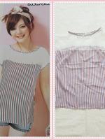 blouse2158 ขายส่งเสื้อผ้าแฟชั่น เสื้อแฟชั่นไซส์ใหญ่ แขนในตัว อกซีทรู ผ้าชีฟองลายทางโทนสีขาวฟ้าแดง
