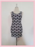 dress2086 เดรสแฟชั่นงานแพลตตินั่มผ้ายืดเนื้อดี แขนกุด ลายซิกแซกโทนสีขาวดำ ราคาปลีก : 160 บาท