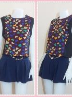 blouse2586 เสื้อแฟชั่นราคาส่ง เสื้อแขนในตัวผ้าเนื้อดีลายหัวใจคัลเลอร์ฟูลพื้นสีน้ำตาล