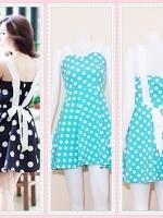 dress2346 เดรสแฟชั่นน่ารักสายสปาเก็ตตี้ ผูกโบว์หลัง ซิปข้าง ผ้าไหมอิตาลีลายจุดขาว สีฟ้าพาสเทล