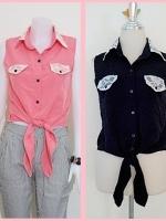 Sale!! blouse1691 เสื้อแฟชั่นผ้าไหมอิตาลี คอปกเชิ้ตลูกไม้ ผูกเอว สีดำ ราคาปลีก : 150 บาท