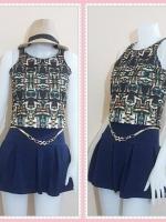 blouse2596 เสื้อแฟชั่นราคาส่ง เสื้อแขนกุดผ้าเนื้อดีลายกราฟฟิค โทนสีเหลืองดำ