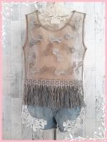 blouse3012 เสื้อแฟชั่นแขนกุดแต่งโบว์ชายรุ่ย ผ้าซีทรูสีน้ำตาล (เหมาะกับสาวไซส์เล็ก) ราคาปลีก : 170 บาท