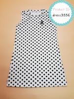 dress3556 ชุดเดรสน่ารัก อกสกรีน Polo ผ้าแมงโก้ยืดเนื้อนิ่มหนาสวย ลายจุดสีขาว